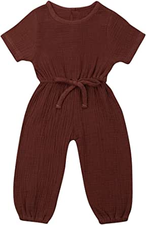 Summer Toddler Baby Girls Sleeveless Solid Suspender Romper Jumpsuit Playsuit UK