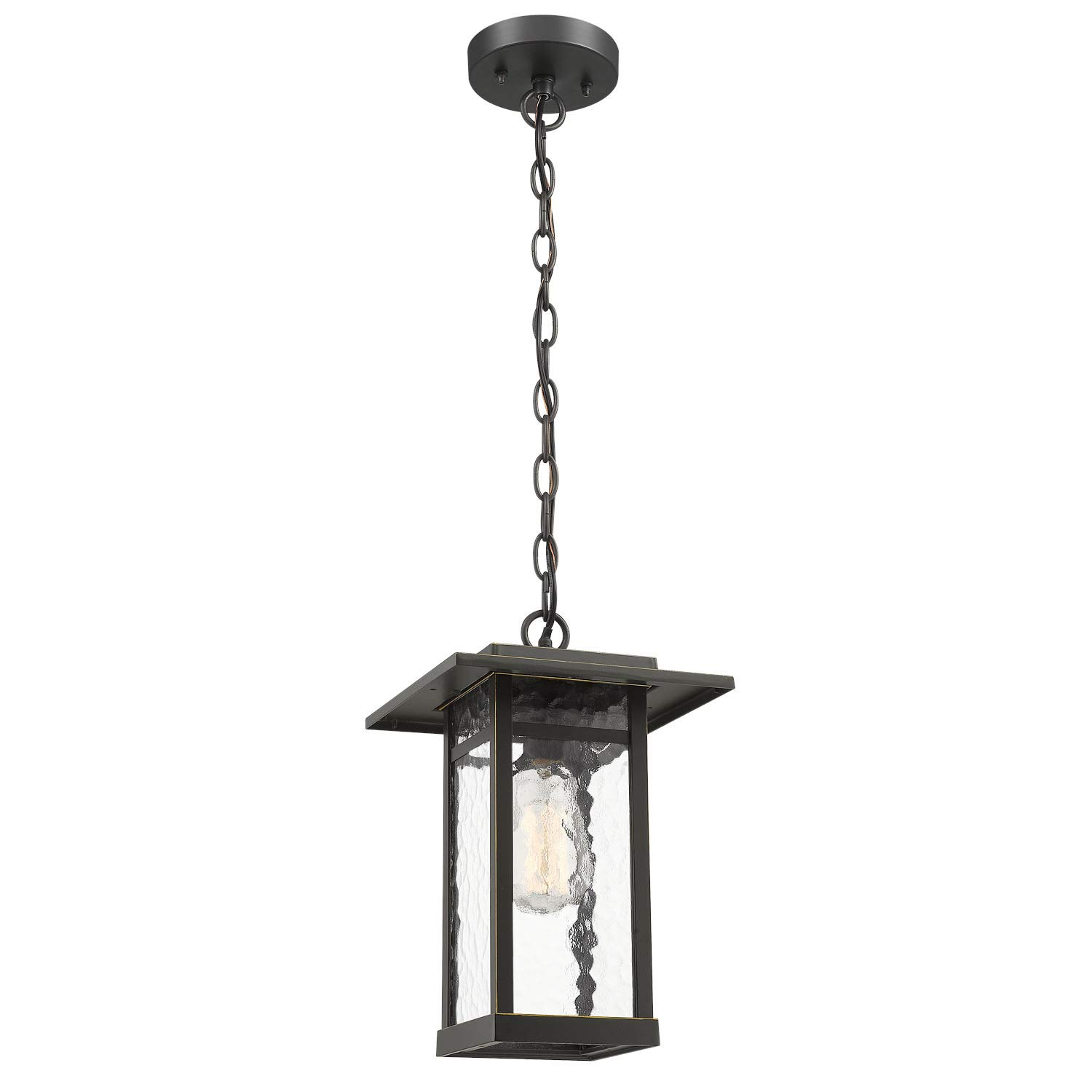 Outdoor Pendant Light, Beionxii 1-Light Exterior Hanging Lantern in Oil Rubbed Bronze Finish with Water Ripple Glass Shade, Pendant Chain Adjustable
