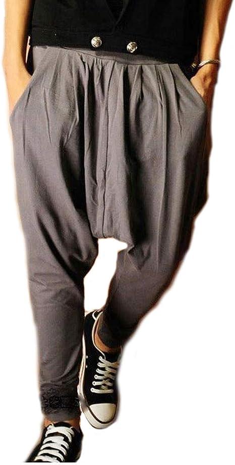 US Mens Baggy Casual Harem Striped Drop Crotch Dance Hip Hop Long Trousers Pants
