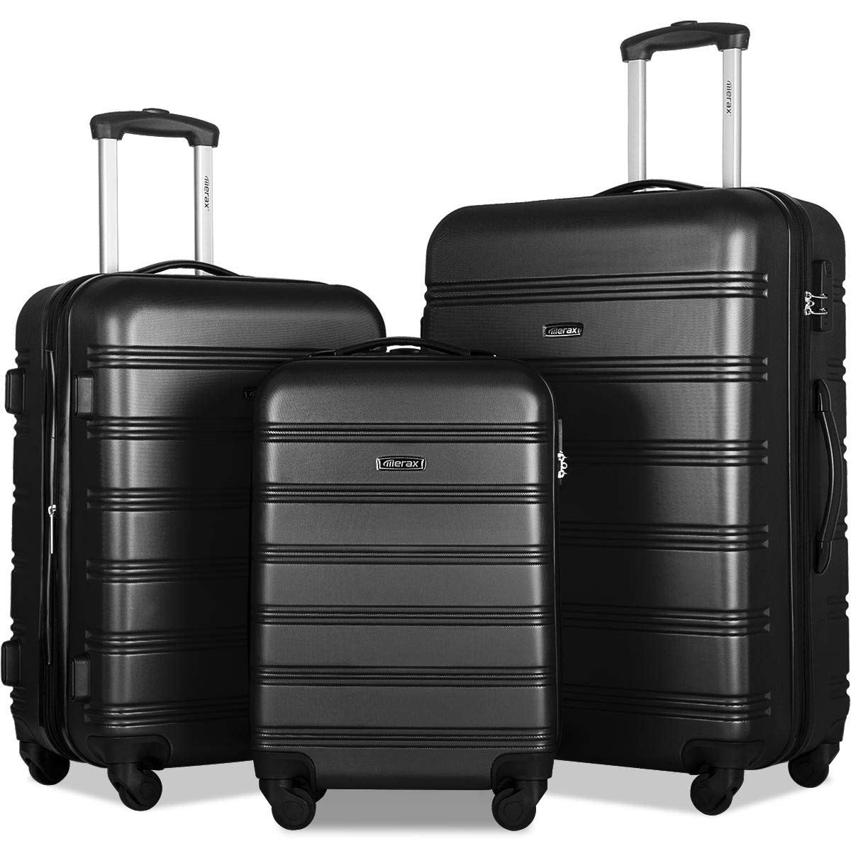 Merax 3 Pcs Luggage Set Expandable Hardside Lightweight Spinner Suitcase with TSA Lock [Upgraded Version] by Merax