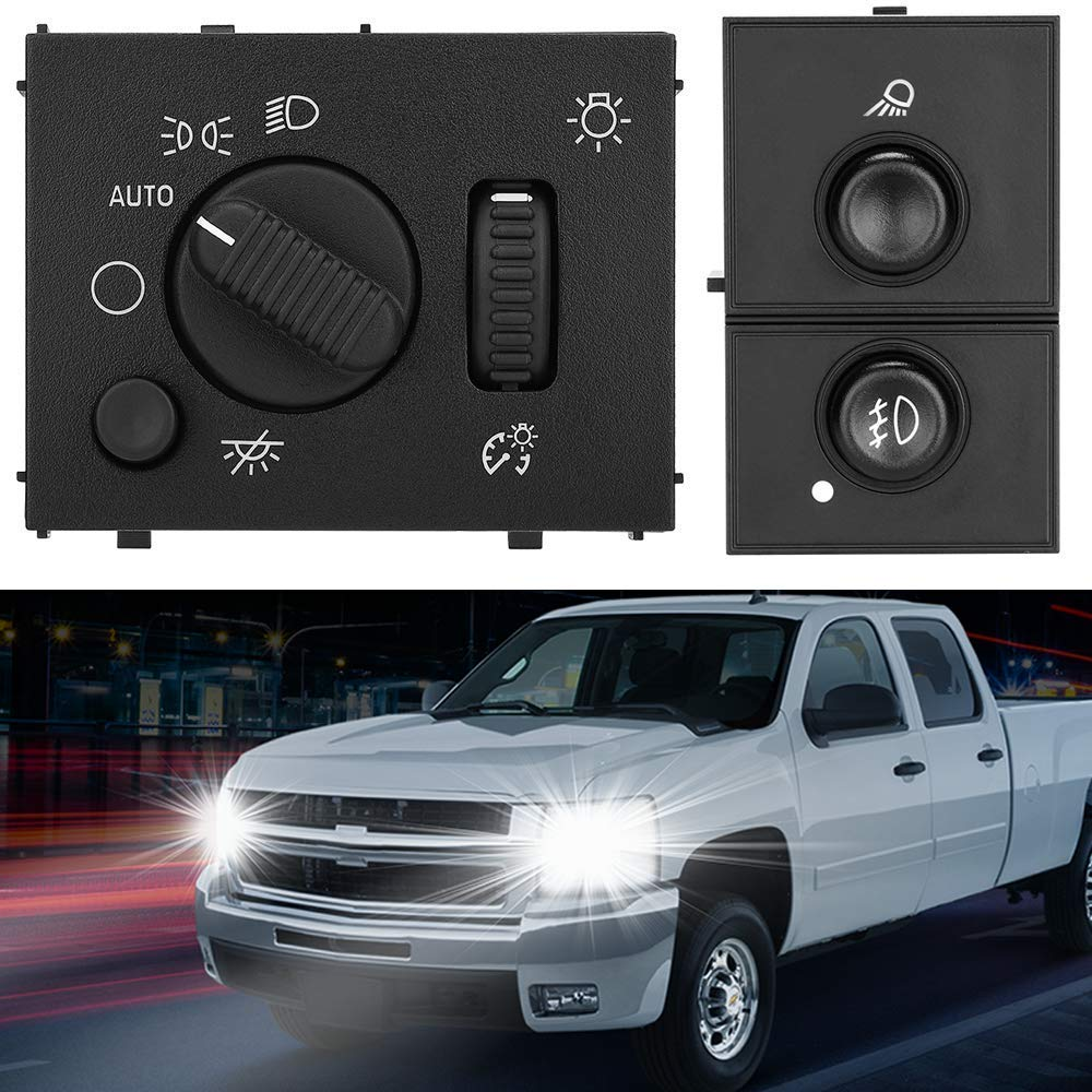 Headlight Switch & Fog Lamp Cargo Light Control Compatible with Chevy Silverado GMC Sierra 2003 2004 2005 2006 2007