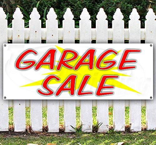 [GARAGE SALE 13 oz heavy duty vinyl banner with 4 grommets 18