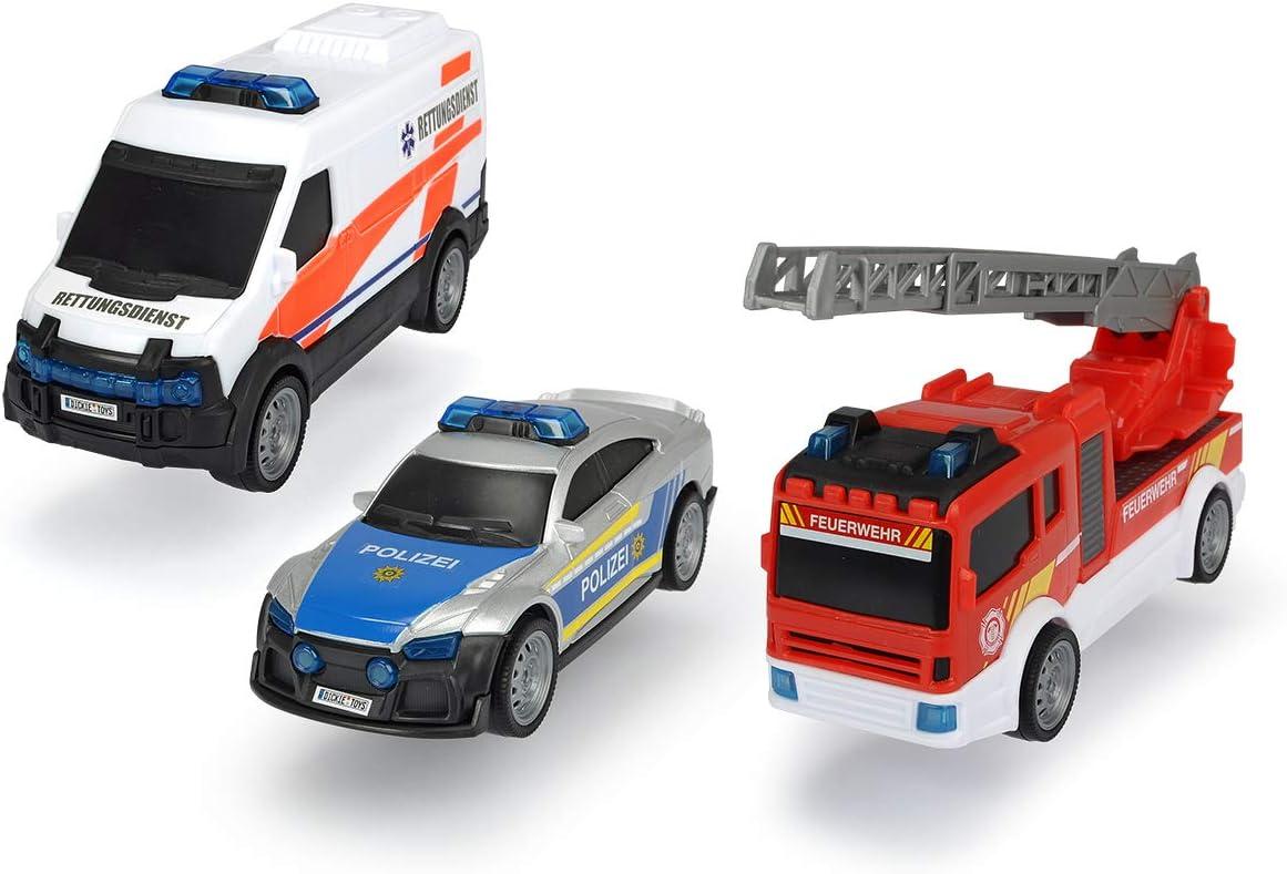 Dickie Toys Theme Set SOS Team-Juego Rescate, policía y Coche de Bomberos con pulverización de Agua, versión Alemana, a Partir de 3 años, Multicolor (203712015): Amazon.es: Juguetes y juegos