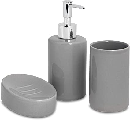 Harbour Housewares 3 Piece Bathroom Accessories Set Soap Dispenser Dish And Toothbrush Holder Grey Amazon Co Uk Kitchen Home