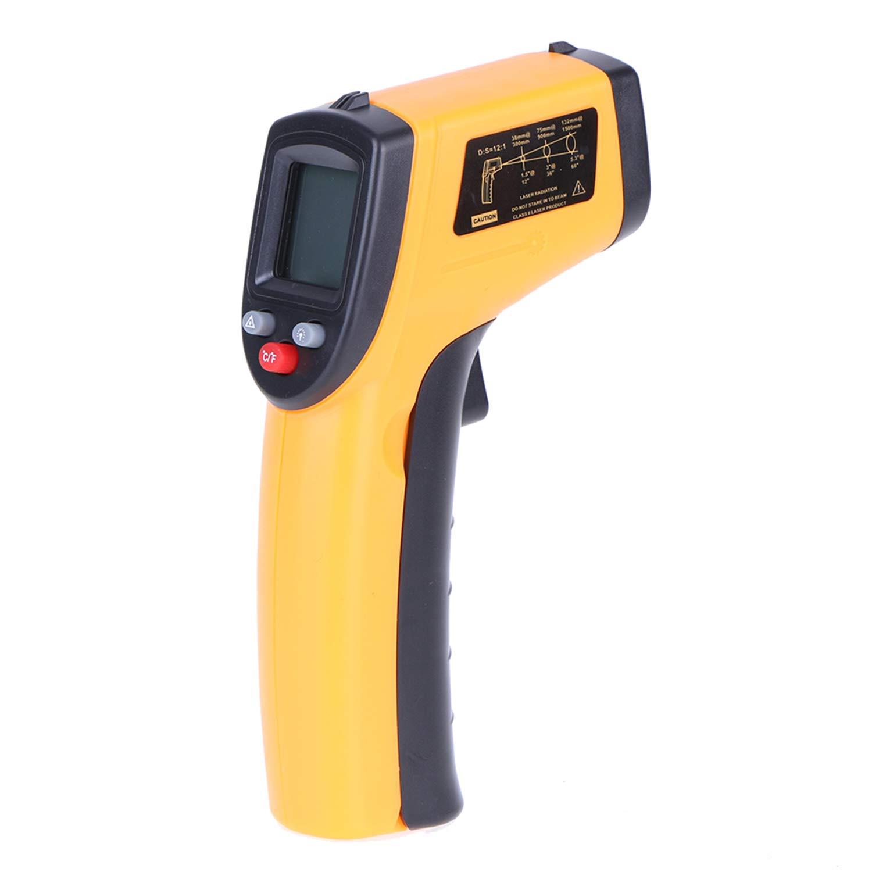 GoolRC Termómetro infrarrojo digital Pistola de temperatura industrial sin contacto con luz de fondo -50-380 ° C (NO para humanos) Batería no incluida