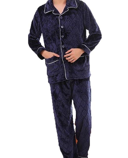 Pajamas De Otoño E Invierno Más Terciopelo Grueso Pijamas De Franela Hombres De Manga Larga Trajes