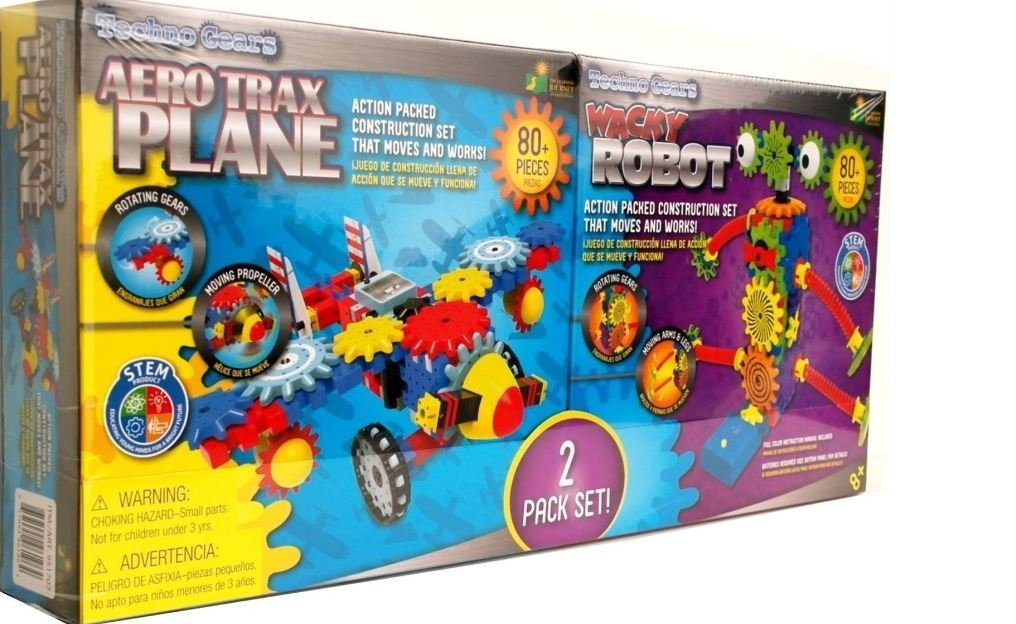 Techno Gears 2 Pack Set Aero Trax Plane & Wacky Robot 80 Pieces Each