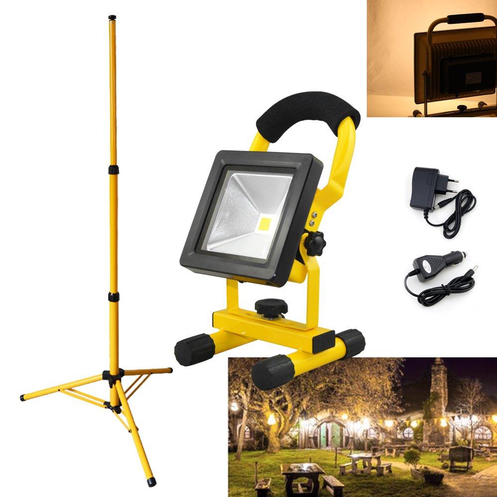 VINGO® Projecteur LED Portable Rechargeable 20W Blanc Chaud + Teleskop trépied Pour Camping, Garage, Terrasse, Jardin, Abri etc