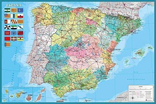 Grupo Erik Editores Poster Mapa España Fisico Politico: Amazon.es: Oficina y papelería