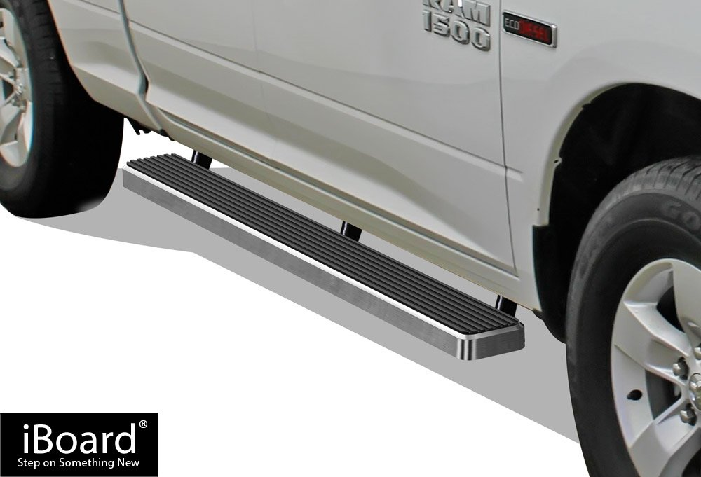 iBoard Running Boards 4' Matte Black Custom Fit 2009-2018 Dodge Ram 1500 Quad Cab Pickup 4-Door (Nerf Bars | Side Steps | Side Bars) APS Autoparts