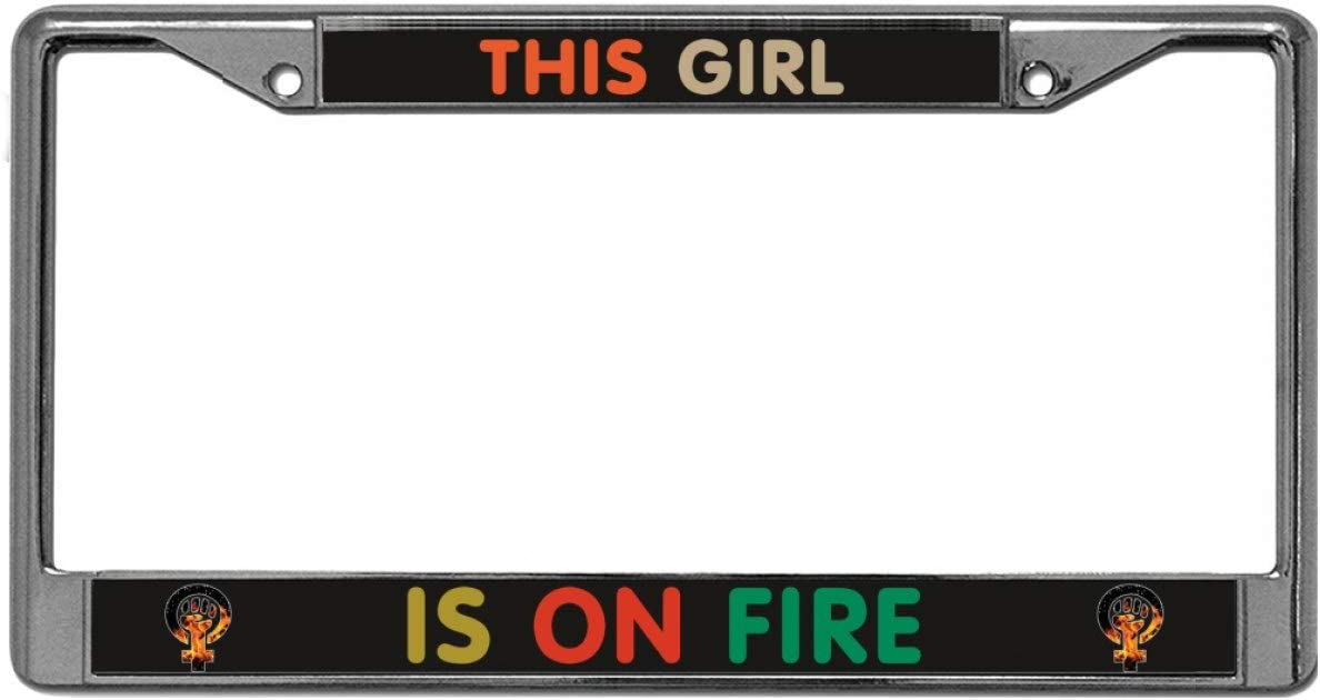 Screw Caps FIRE POLICE Black Metal License Plate Frame