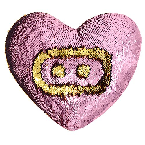 Mermaid Throw Pillows,Two-color Reversible Sequins Mermaid Heart-Shaped Pillow Cover with Insert - Picture Oblong Shape