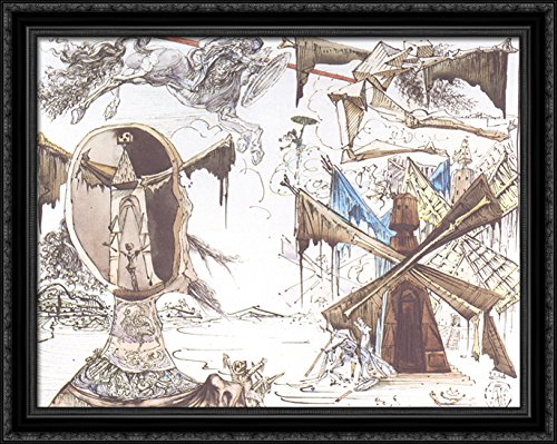 Don Quixote and the Windmills 36x28 Large Black Ornate Wood Framed Canvas Art by Salvador Dali