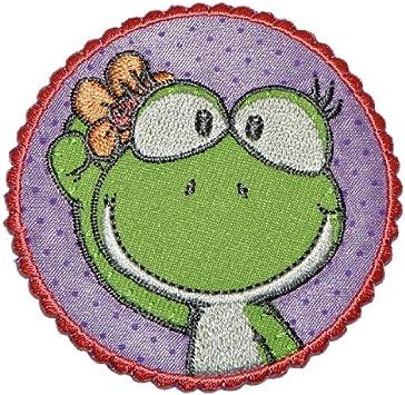 Nici Frosch Mädchen 6,8 cm 6,8 cm Bügelbild Aufnäher Applikation Set 3 tlg