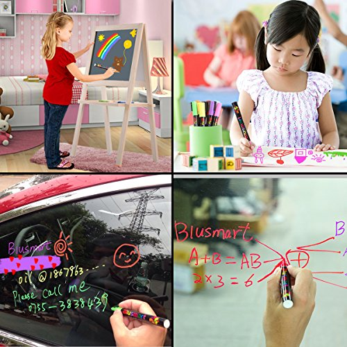 Chalk markers, Blusmart 8pcs Liquid Chalk Pens 3mm Reversible tips 40 Chalkboard Labels Perfect for Chalkboards, Windows, Glass,Whiteboard Photo #5