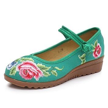 Zapatillas Bordadas y Transpirables Zapatos Planos de Estilo Chino Dichotomanthes Zapatos Mary Jane (Color : Verde, Tamaño : 35): Amazon.es: Hogar