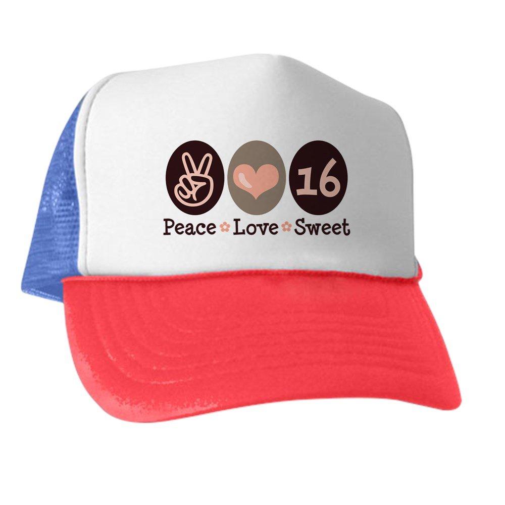 Amazon.com  CafePress - Peace Love Sweet Sixteen 16Th Birthday - Trucker Hat 64f9c83ba0f3