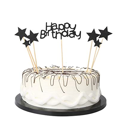 YUINYO Black Glitter Pentacle Cake Toppers First Happy Birthday Cupcake Topper Smash Candle Alternative