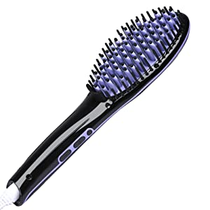 Hair Straightening Brush Fast Heating Hair Straightener Brush Heat Resistant Ceramic Electric Hair Brush Straightener Anti-Scald Anti-Static Effective Detangling For Silky Straight Hair (Purple)