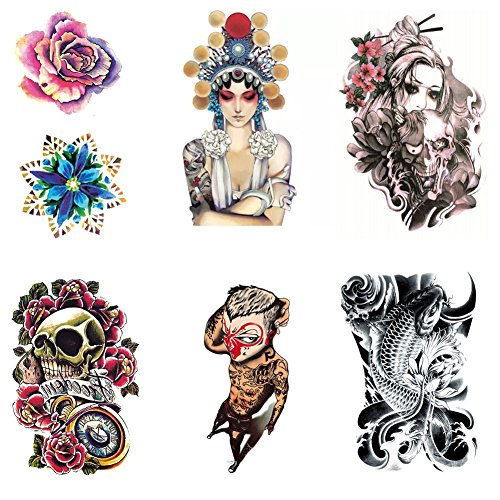 Kederlin Tattoo Stickers Waterproof Men and Women Durable Arm Tattoo A 6 Extra Random Gift 2 Today's Star Waterproof Tattoo Stickers -