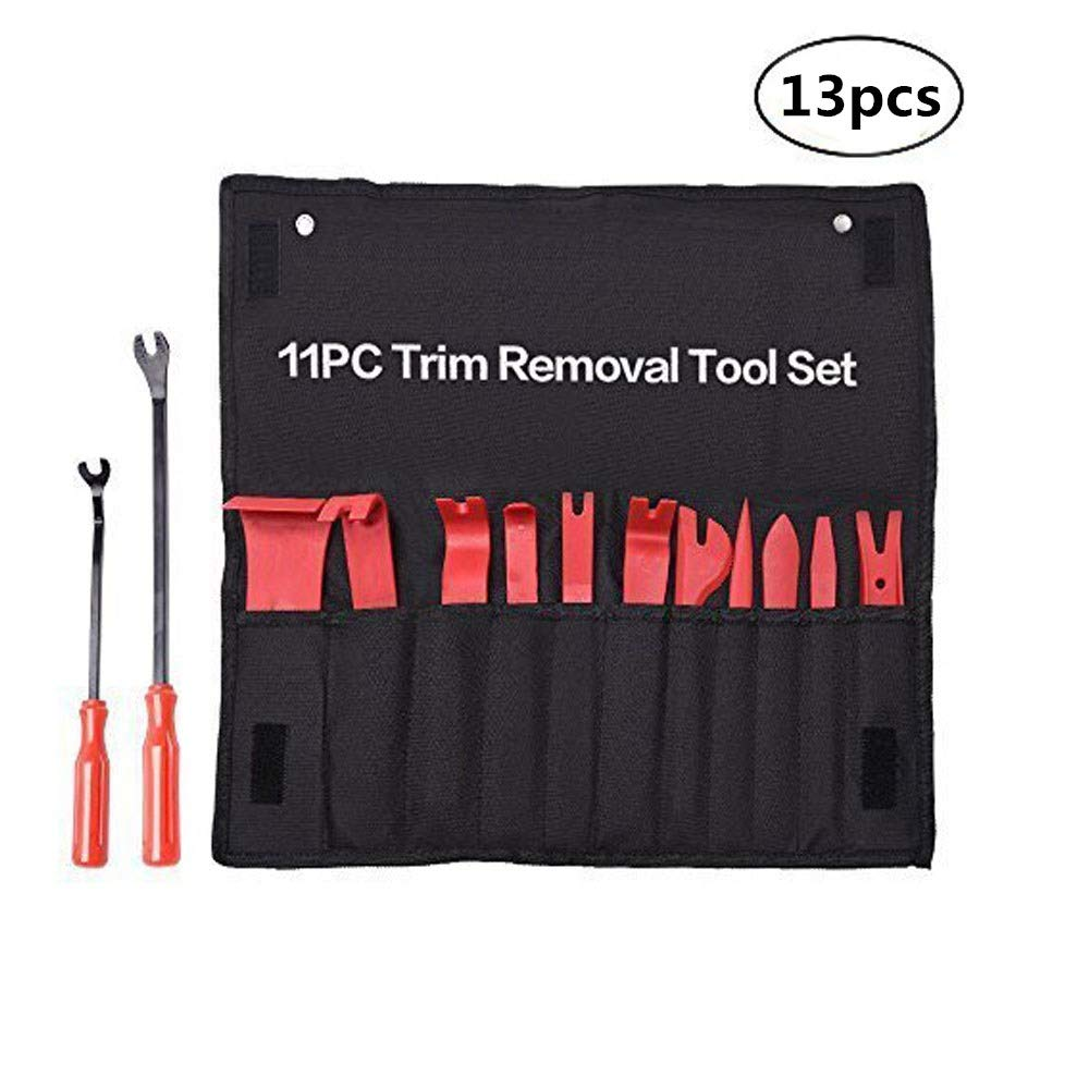 Removing Fasteners 13pcs crayfomo Auto Car Trim Removal Tool Panel Removal Tool Kit Auto Upholstery,Car Dash Audio Remover Installer Trims Molding