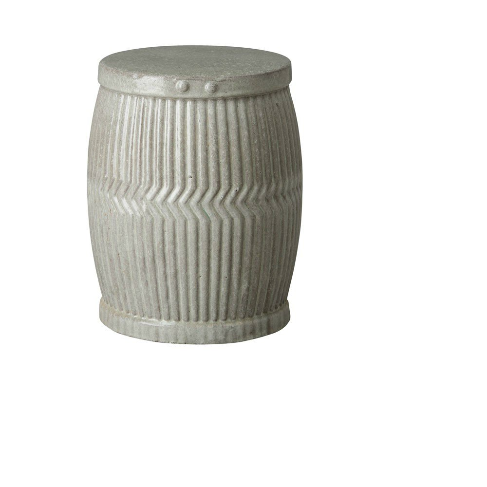Emissary Decorative Dolly Tub Ceramic Grey Garden Stool / Accent Garden Seat (Small)