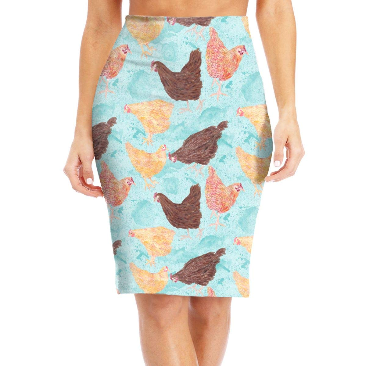 Memphis Chicken Coop Womens Fashion Printed Pencil Skirt