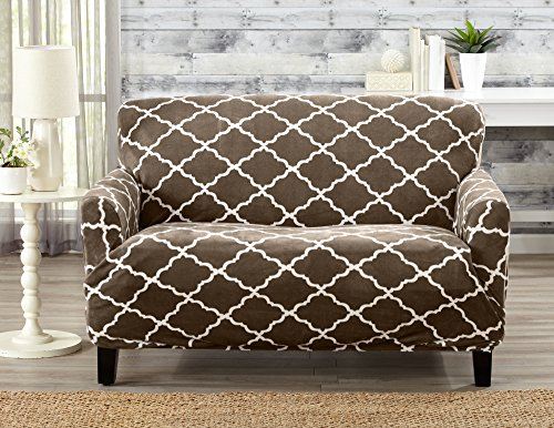 Modern Velvet Plush Strapless Slipcover. Form Fit Stretch, Stylish Furniture Shield / Protector. Magnolia Collection Strapless Slipcover by Great Bay Home Brand. (Loveseat, Walnut Brown) Dining Room Loveseat