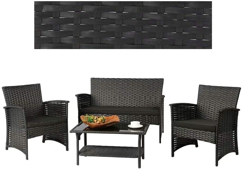 HSTF? 4 Pieces Outdoor Rattan Patio Furniture Sets, Modern Wicker Conversation Sofa Chairs with Cushioned & Glass Top Coffee Table, Perfect for Garden Lawn Pool Backyard, Black