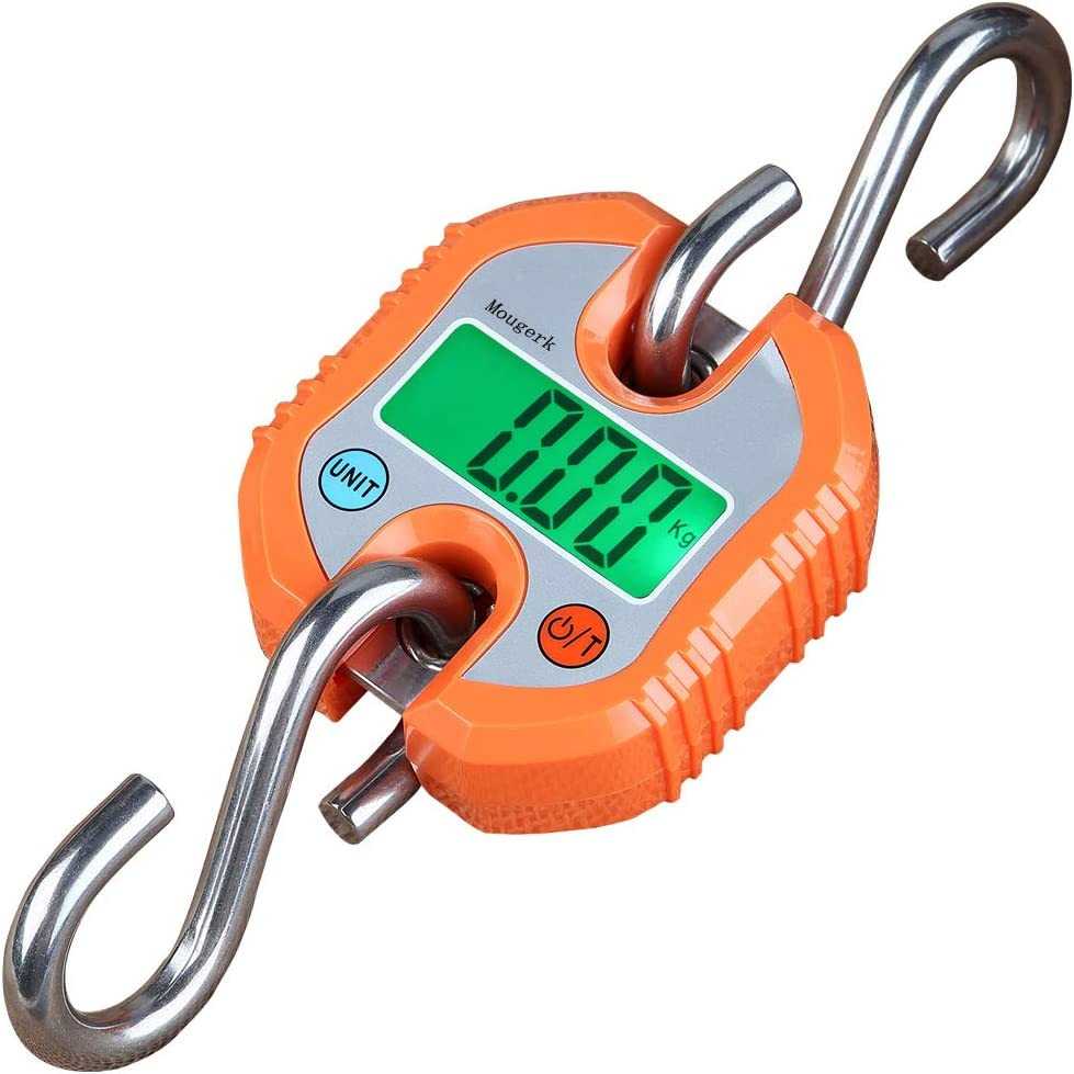 Mougerk Digital Hanging Scales Portable Heavy Duty Crane Scale 150 kg 300 lb 2 AAA Batteries Not Included