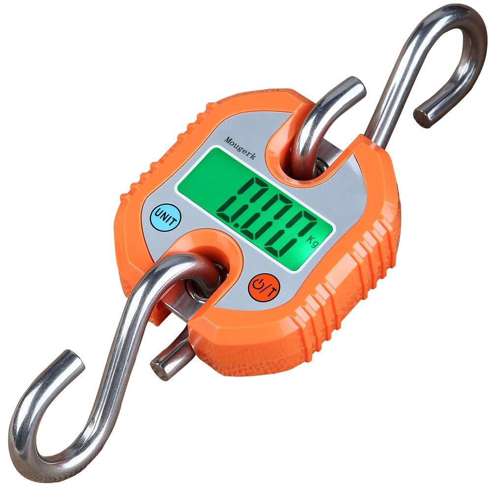 Mougerk Digital Hanging Scales Portable Heavy Duty Crane Scale 150 kg 300 lb 2 AAA Batteries(Not Included) (Orange) by Mougerk