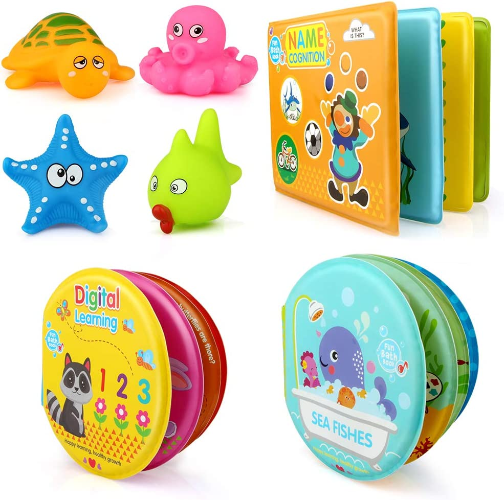 Growsland Baby Bath Toys 3 Pack Bath Books with Bath Squirt Toys Soft Waterproof Books Baby Learning and Sound Bath Time Toys for Toddlers Infants Children Boys and Girls