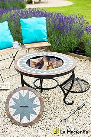 La Hacienda – Estufa de mosaico Mesa con grill & Centro Tapa