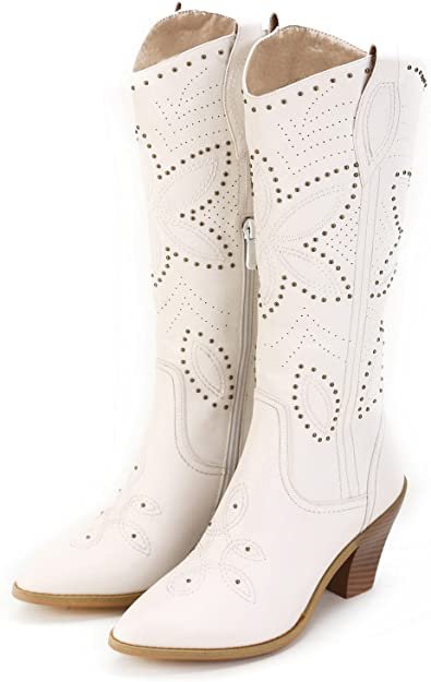 Hornsby' White Studded Western Boots