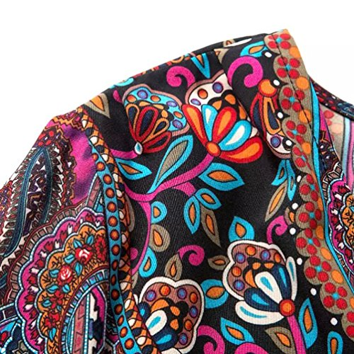 NiSeng Mujeres Borla Bohemia Vintage V cuello Playa Manga 3/4 Camisa de Vestido Suelto Como imagen