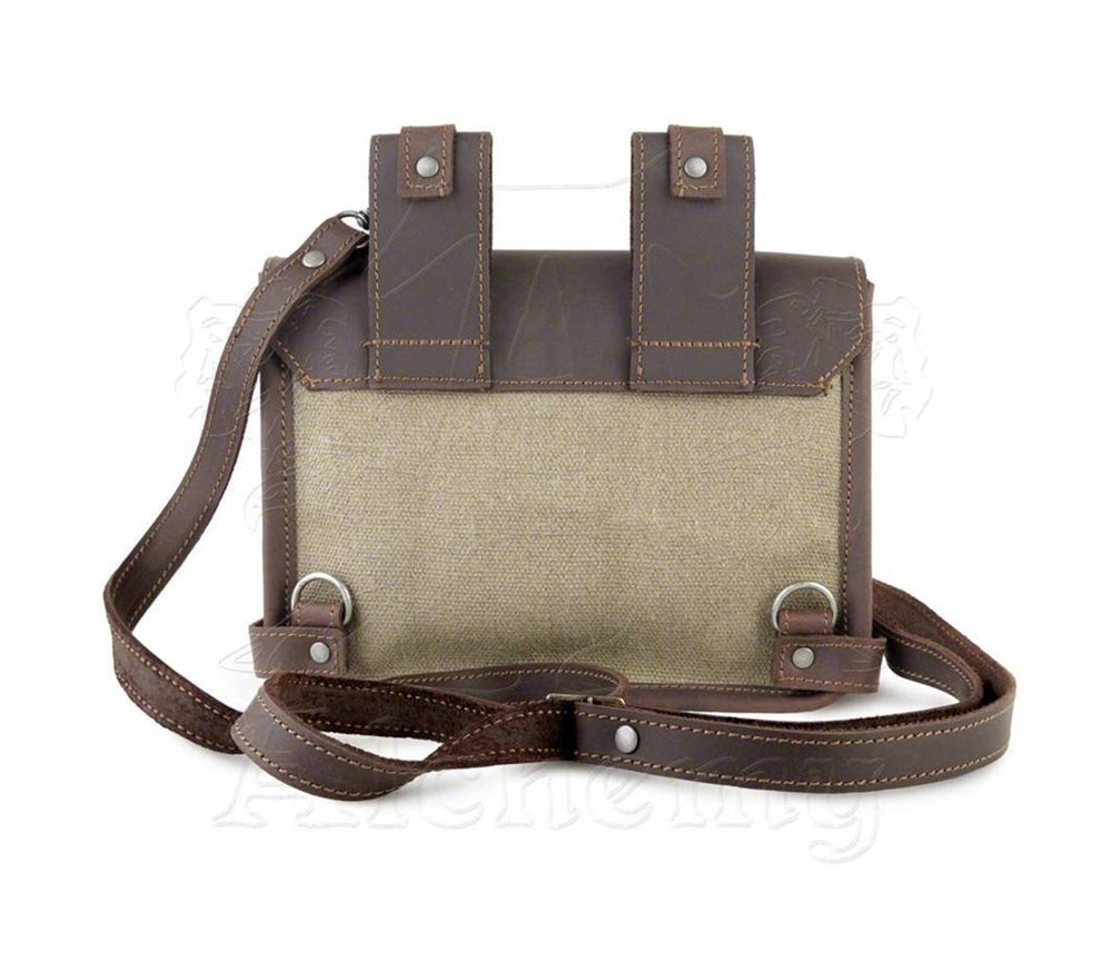 Steampunk Brown Canvas and Leather Wing-Commander's Attache Pouch by Alchemy Gothic by Alchemy Gothic (Image #3)