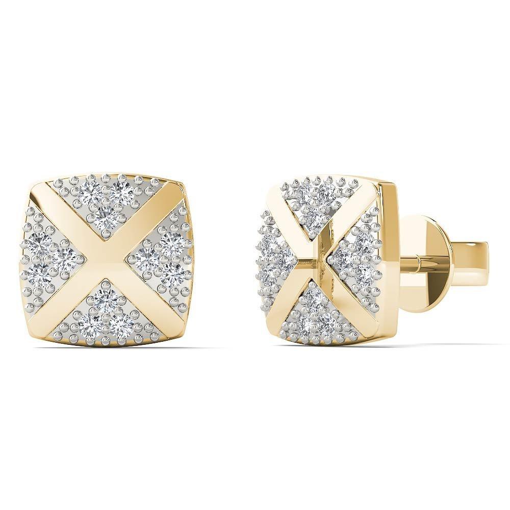 JewelAngel Women's 10K Yellow Gold Diamond Accent Square With Cross Stud Earrings (H-I, I1-I2)