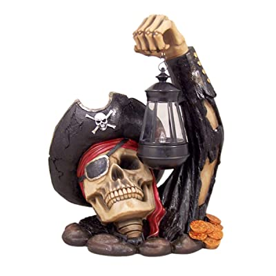 Home Originality Captain Bone's Pirate Solar Lantern Outdoor Statue Decoration, 13 Inch : Garden & Outdoor