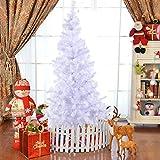 COSTWAY Weihnachtsbaum künstlicher Tannenbaum Christbaum Kunstbaum Dekobaum mit Metallständer 150cm/180cm/210cm/240cm weiß (180cm)
