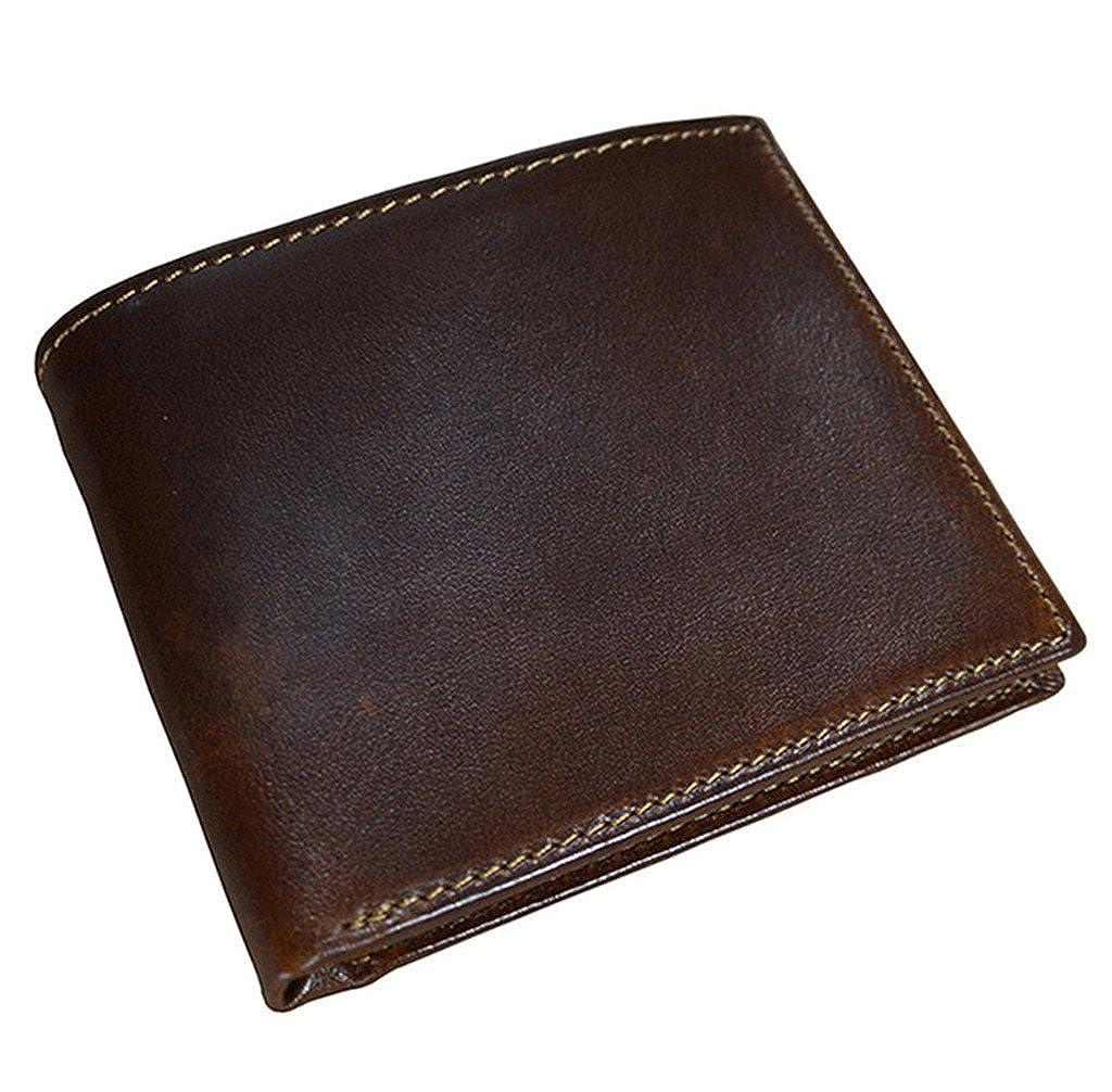 YEX Mens RFID Blocking Genuine Cowhide Leather Card Holder Cash Case Coffee Brown Flip Wallet Stylish
