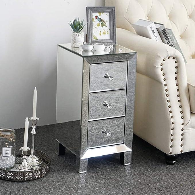 Venezianischer Spiegel Glas Nachttisch Mit Drei Schubladen Und Griffen Aus Glas Amazon De Kuche Haushalt