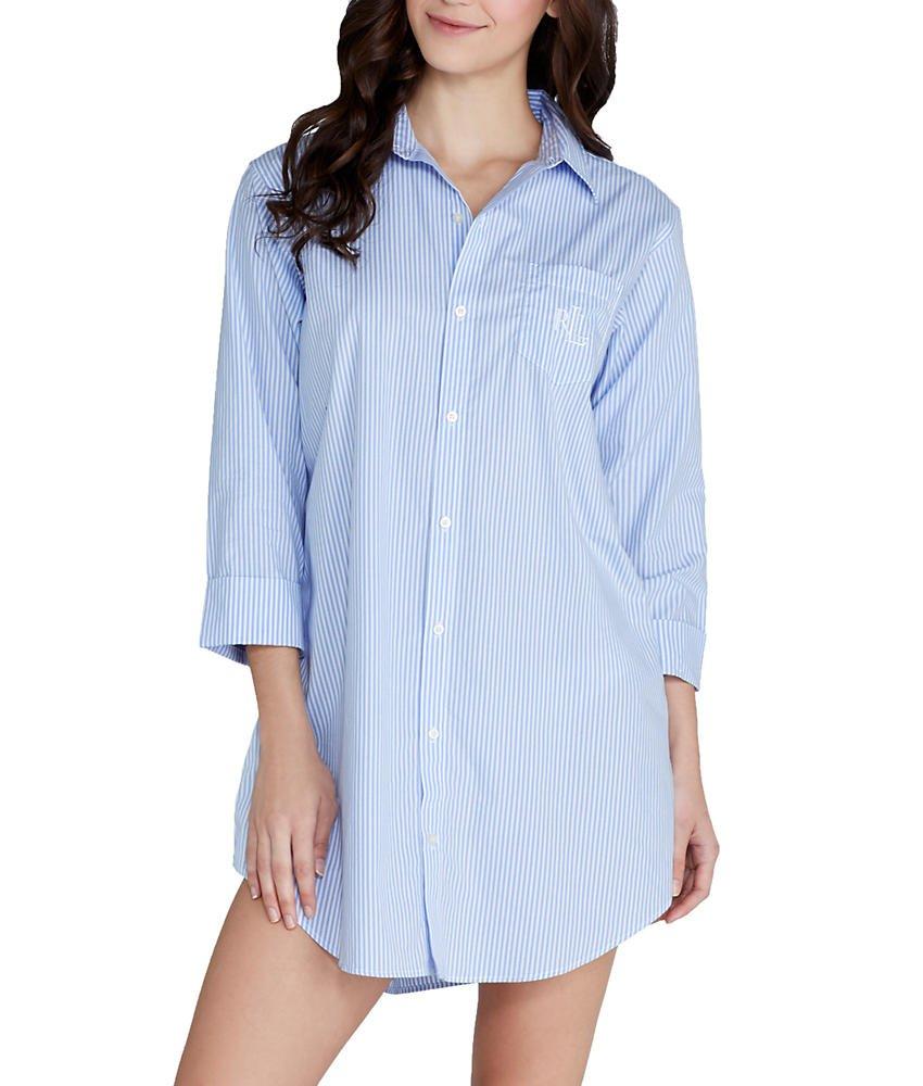 Lauren Ralph Lauren Women's Essentials Striped His Shirt Carissa Bengal Stripe French Blue/White X-Large