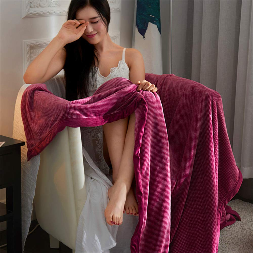 Pure Color Milk Velvet Plaid Blanket Autumn and Winter Thick Flannel Blanket Warm Sheets Casual Blankets Skin-Friendly Breathable Soft and Delicate fine Edging Wine red Grid 150200cm by iangbaoyo