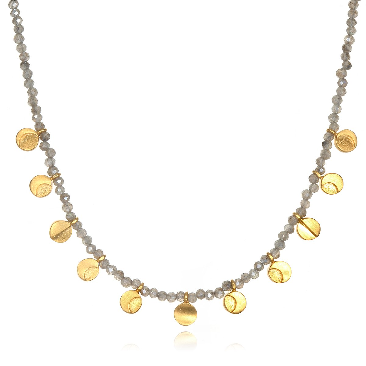 Satya Jewelry Mystic Labradorite Gold Plate Moon Phase (15-Inch +2'' Ext) Choker Necklace