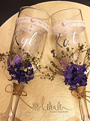 Wedding Champagne flutes glass lavender garden Vintage Floral country themed purple Bride and Groom Mr Mrs couple glass 2pcs set / FREE gift packed Ready to Gift right away