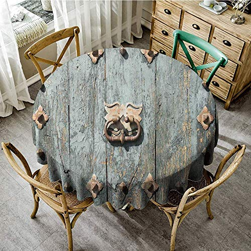 DONEECKL Restaurant Tablecloth Rustic European Cathedral with Rusty Old Door Knocker Gothic Medieval Times Spanish Style Easy to Clean D71 Turquoise (Best Spanish Restaurants In Chicago)