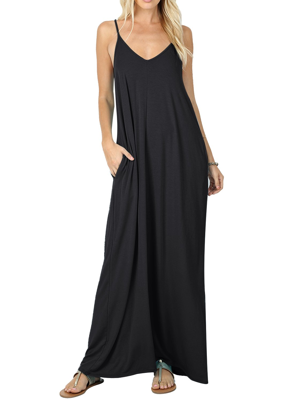 CALIPESSA Womens Summer V Neck Pockets Casual Flowy Floor Length Dress Black XL