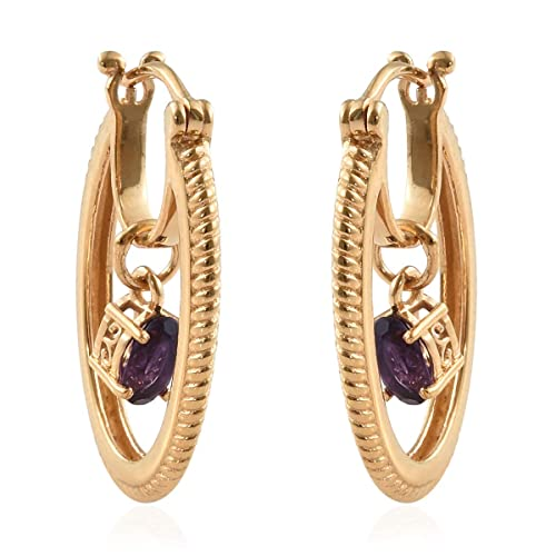 8d7a9b75d Amazon.com: 14K Yellow Gold Plated Oval Amethyst Hoops Hoop Earrings for Women  Jewelry Hypoallergenic Cttw 0.7: Jewelry