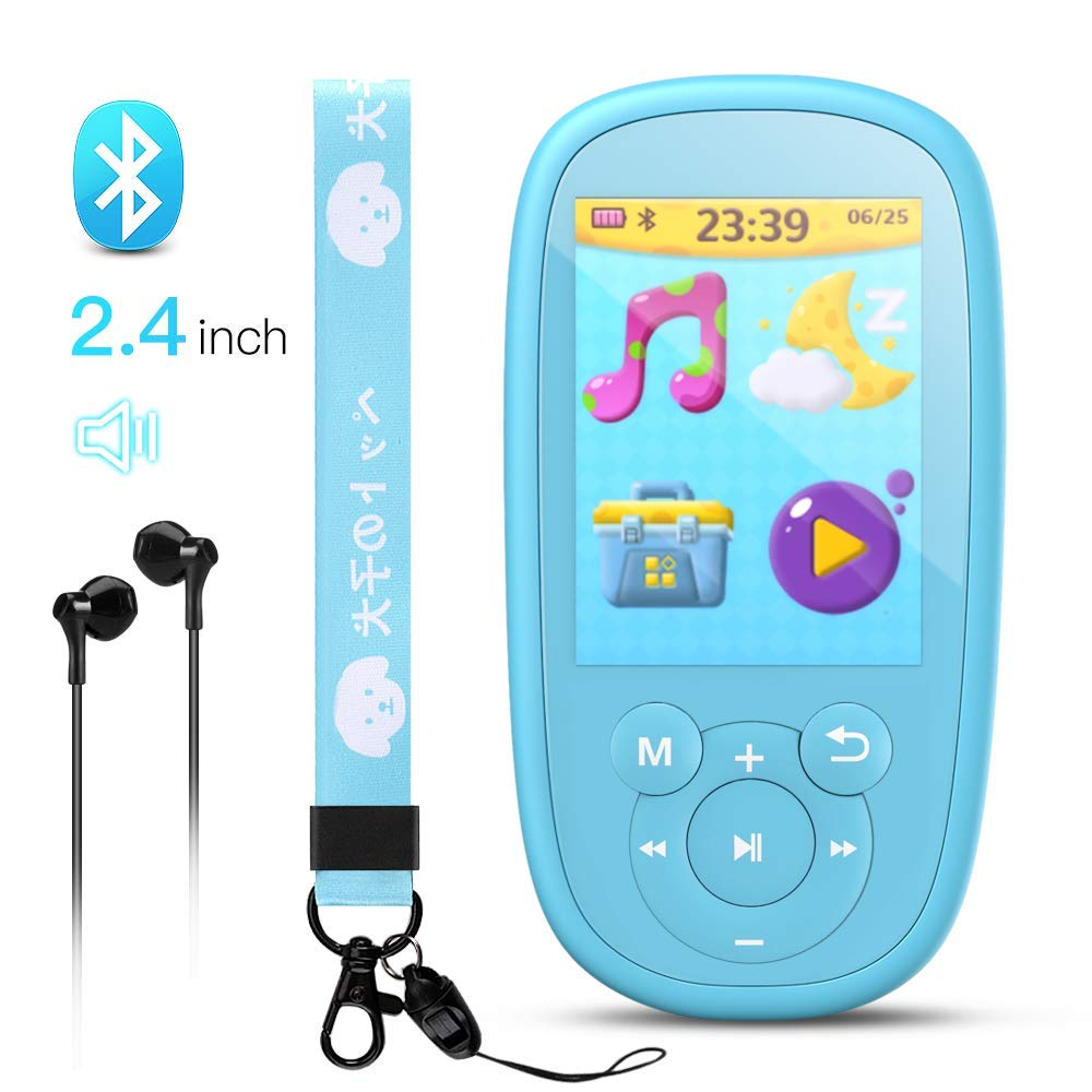 AGPTEK Bluetooth MP3 Player for Kids, Children Music Player with Built-in Speaker 8GB, 2.4 Inch HD Screen, 10 Soothing Sounds, FM Radio, Video, Voice Recorder, Expandable Up to 128GB,Blue by AGPTEK (Image #1)