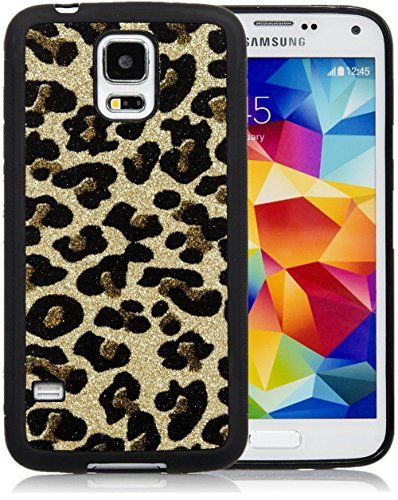 Galaxy S5 Case, iSee Case (TM) Leopard Bling Glitter Sparkle TPU Full Cover Protective Case for New Samsung Galaxy S5 SM-G900 (S5-Glimmer Leopard Gold)